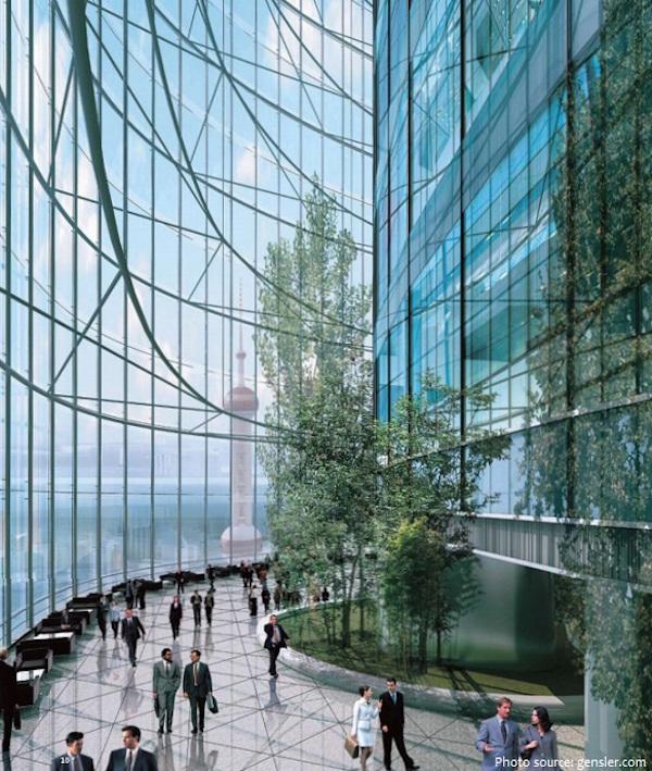 Giữa hai lớp kính là 9 không gian công cộng dành cho du khách. Mỗi khu gồm nhà vườn, quán cà phê, nhà hàng, các cửa hàng bán lẻ và đem đến tầm nhìn 360 độ quanh thành phố. Hiện mỗi ngày toà tháp đón khoảng 16.000 lượt khách. Ảnh: Gensler.